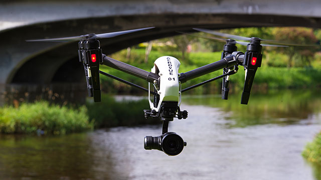 Aerial filming remote controlled quadcopter
